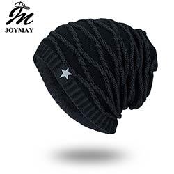 7bb8198fed08 Joymay 2017 Brand New Automne-Hiver Bonnets Chapeau Unisexe Chaud doux  Crâne Tricot Cap Chapeaux Star Pour Les Hommes Femmes WM067