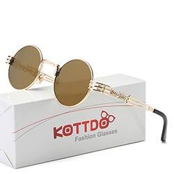 392a8ff2110b1b KOTTDO Steampunk lunettes de Soleil Hommes En Métal Wrap Lunettes Rondes  Vintage Lunettes Mâle Lunettes de Soleil Lunettes Lunettes De Soleil