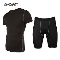 LANBAOSI Hommes de Sport Compression Collants Ensemble Couche de Base Peau  Sous-Vêtements Tops   Shorts pour Running Fitness Workout Exercice De Yoga cbcee3bd5b5