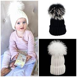 LAURASHOW Hiver Enfants Chapeaux Bonnets Casquettes Tricot Chapeau Bébé  Filles Garçons Raton Laveur Fourrure De Vison Pom Poms Laine 47d60aa782e