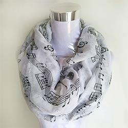 e89e259bda83 Marine bule Musical Notes hiver Infinity Écharpe Femmes musique châles et foulards  foulard bufandas mujer 2017 echarpes foulards femme