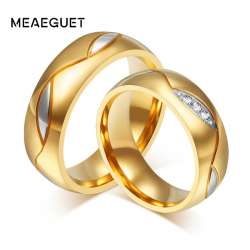 Meaeguet Classique Couple Anneaux Pour Amant De Zircon Cubique Anneau De Mariage Or Couleur Acier Inoxydable Anel Bijoux