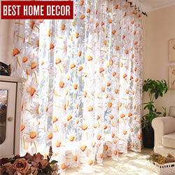 Meilleur décor à la maison rideaux sheer fenêtre rideaux pour le salon la  chambre cuisine moderne tulle rideaux soleil floral tissu stores