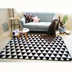 Mode Noir Blanc Géométrique Triangulaire Arbres Salon Chambre Décoratif Tapis  Tapis Salle De Bains Pied Yoga Jouer Mat Camp