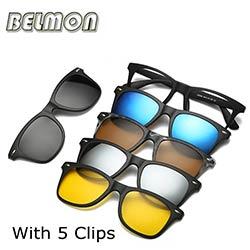 43b612b7be7 Monture de lunettes de mode Hommes Femmes Avec 5 Pièces Clip Sur Lunettes  De Soleil Polarisées Magnétique Lunettes Mâle Conduite Myopie Optique RS120