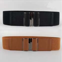 Nouveau Design Ceinture CHAUDE large PU ceintures de Smoking en cuir punk  élastique ceinture carré boucle noir robe décorer ceinture sangle femmes 0d130cba7b8