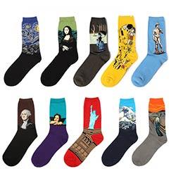 4f7f7d27d1799 Nouveau Mode 100% Coton Van Gogh Art Chaussettes De Mona Lisa Peinture  Célèbre Caractère Motif Pour Femmes et Hommes