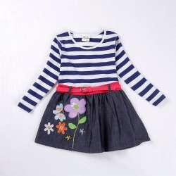 e0edc77cfaeef NOVATX Fille robe Automne casual floral enfants robes pour bébé filles  vêtements princesse denim robes robe de noël robes H7026