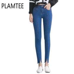 3757b263ae9b Printemps Nouvelles Femmes Jeans Taille Haute Stretch Cheville Longueur  Slim Crayon pantalon Mode Femme Jeans 3 Couleur Plus La Taille Jeans Femme  2017