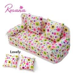 Prix Rosana Mini Dollhouse Meubles Fleur Tissu Canape Canape Avec 2