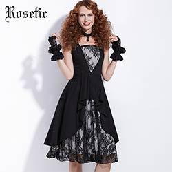 68c4177d1b0 Rosetic Gothique Robe Vintage Imprimé Dentelle Patchwork Femmes A-ligne Robe  Noire Partie De Bal Rétro D été Foncé Asymétrique Goth Robe