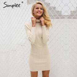 3779f461920 Simplee Casual col roulé long chandail tricoté robe femmes Coton mince  moulante robe pull femme Automne hiver robe 2017