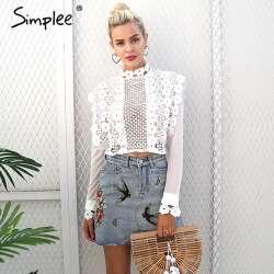 5ae542f101c95 Simplee Sexy blanc dentelle fleur chemisier chemise Creux out mesh  transparent blouse blusas Femmes blouse à manches longues hauts de noël