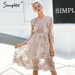 5ef626683c54 Simplee V cou à manches longues sequin partie robes femmes Sexy maille  streetwear de noël midi robe femelle 2017 automne robe robe