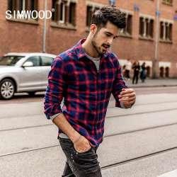 Prix Simwood 2018 Printemps Hommes Flanelle Chemise A Carreaux 100