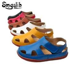 2d722e9fff534 Size25-37 Véritable en cuir Casual enfants sandales 2017 bébé d été garçons  chaussures de plage Plat petites filles gladiateur sandales