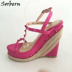 Rose Taille Couleur Sandales Chaussures Femmes Plate Sangle Haute D'été Talon T 46 Forme Corde Rivets Sorbern Talons Eu34 Compensé Plus b6fYg7vy