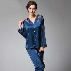 d9192104b1fd0 SSH037 Printemps Automne Femmes Satin de Soie Pyjama Ensemble Sleepcoat  Sommeil Pantalon Haute Qualité Dame Chemise de Nuit Femme Sexy vêtements de  Nuit ...