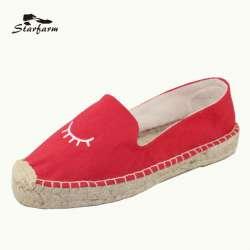 Toile Forme Plat Mocassins Rouge Starfarm Plate Chaussures Brodé Motif Espadrilles En Chaussure Femmes Femme Eye De Nn0wvOm8