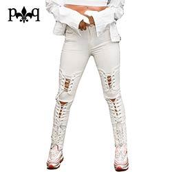 Taille haute Jeans Femmes Automne Streetwear Sexy Lace Up Longue pantalon  Trou Genou Déchiré Jeans Pour Femmes Skinny Jeans Noir blanc ccda6c26bc52