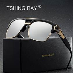 a0a274378cf21a TSHING RAY Cool Flat Top Grand Carré lunettes de Soleil Hommes Femmes Marque  de luxe Designer Miroir Lunettes De Soleil Homme Rétro Clair lunettes