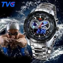 9863349ef2ee TVG En Acier Inoxydable De Luxe bande De Mode Noir Montre Numérique  Analogique LED double fuseau horaire de Sport Hommes 3ATM Étanche relojes  hombre