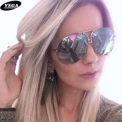 58488966f14fd5 VEGA 2017 Grosses Lunettes de Soleil Femmes Dames Grand Lunettes De Soleil  De L aviation Femelle Surdimensionné Lunettes tendance lunettes de soleil  femmes ...