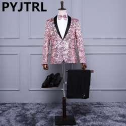 (Veste + Pantalon) rose Or Paillettes Hommes De Mode de Paillette De  Mariage Marié Costumes Hommes Sequin Blazer Discothèque Bar DJ Chanteur  Costume Mince a3ab48551e5
