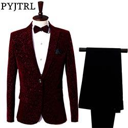 (Veste + Pantalon) rouge Homme de Costume Marié Robe Chanteur Maître De  Cérémonies Hôte Spectacle Servir Vêtements Costumes Pour Hommes De Mariage d71e54bed43