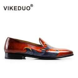 Prix VIKEDUO peint peint peint à la Main hommes de mocassins chaussures 100 03529b