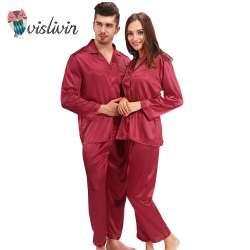 f17f16e10b230 Vislivin Soie Pyjamas Femmes À manches Longues Solide Satin Pyjamas Hommes  Amour de Nuit Femme Salon de Couples Pyjama Ensembles Pijama Mujer