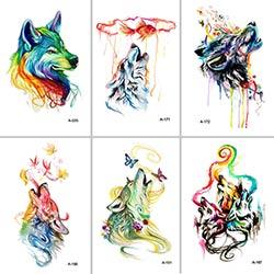 Prix Wyuen Nouveau Design Loup Faux Tatouage Temporaire Impermeable