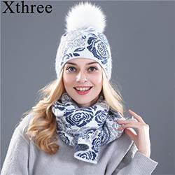 Xthree chapeau d hiver écharpe pour femmes fille bonnet de laine Tricoté  chapeau écharpe ensemble et big real vison fourrure pom pom 8d8159fbc47