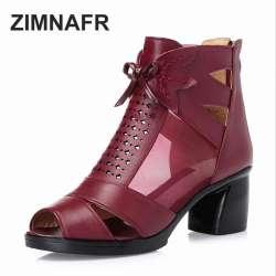 Mode Marque Femmes Nouvelle Bouche Zimnafr Zip Taille 35 Poissons 43 Épais Plus D'été Sandales Talon La 2017 En Cuir Véritable Maille Om0vwN8n