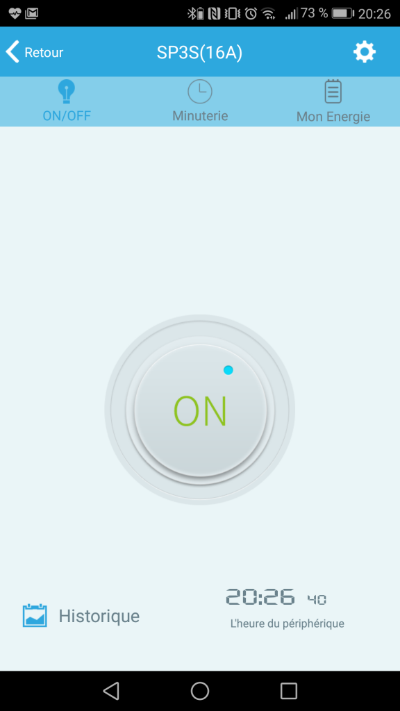 Le bouton ON / OFF de l'application mobile